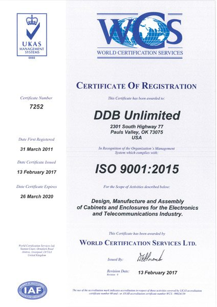ISO 9001:2008 Certificate for DDB Unlimited